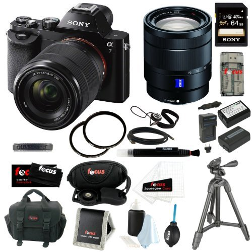 Sony ILCE-7K/B ILCE7KB 24.3 MP a7K Interchangeable Lens Camera with 28-70mm Lens with Sony SEL35F28Z Sonnar T* Fe 35mm Lens + Sony Class 10 64GB SD Card + Tiffen 55mm & 67mm UV Protector + 2 Wasabi Power FW50 Batteries and Charger + Accessory Kit