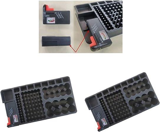 H HILABEE Estuche Organizador De Almacenamiento De Batería con Probador Extraíble para Baterías AAA AA 9V C D: Amazon.es: Hogar