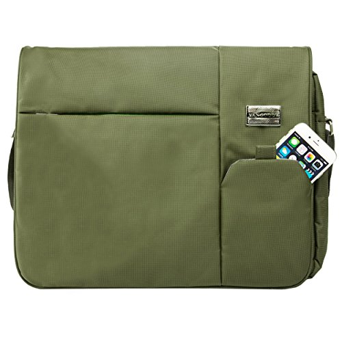 Olive Green Italey Flap Over Messenger Bag Sleeve for Apple MacBook Pro and Air 13.3 to 15.4 inch - Wrap Inch Laptop 15.4