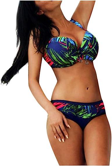 Amazon Com Jieou Traje De Bano Para Mujer Talla Grande Busto Grande Parte Inferior De Bikini Conjunto De Bikini De Cintura Alta Xl Clothing