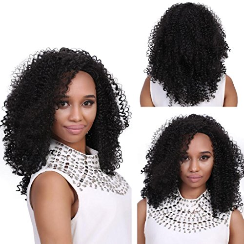 LUNIWEI Long Black Brown FrontCurly Hairstyle Synthetic Hair Wigs (1920 Hairstyles For Long Hair)