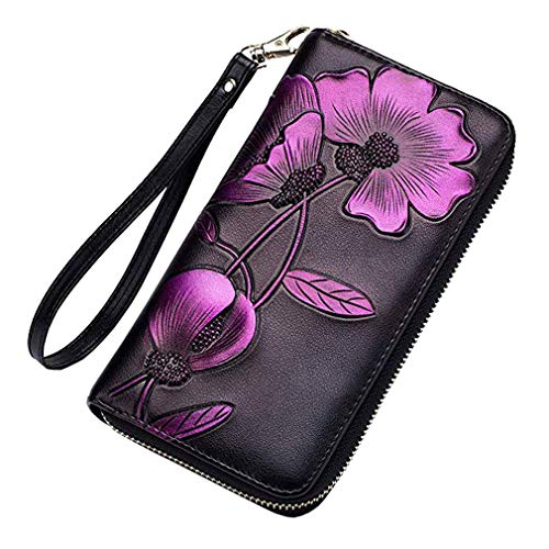 Women Leather Wallet Vintage Clutch Bag with Wristlet RFID Card Holder Long Purse Hand Painted Flowers Ladies Wrist Pack