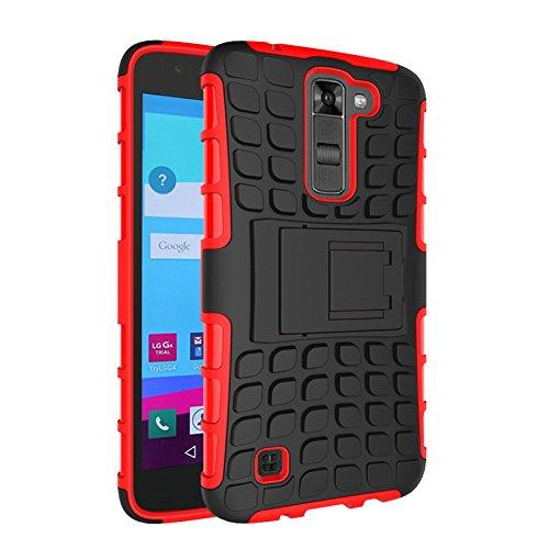 LG K7 Funda,COOLKE Duro resistente Choque Heavy Duty Case Hybrid Outdoor Cover case Bumper protección Funda Para LG K7 - Rojo Rojo