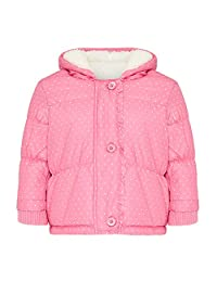 Babaluno Baby - Girls Pink Polka Dot Fleece Lined Coat