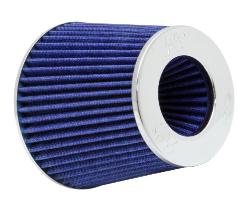 K&N RG-1001BL Universal Clamp-On Air Filter: Round Tapered; 3 in/3.5 in/4 in (102 mm/89 mm/76 mm) Flange ID; 5.5 in (140 mm) Height; 6 in (152 mm) Base; 4.75 in (121 mm) Top