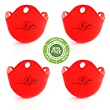 EGG POACHER (4 RED CUPS)-BPA FREE- MICROWAVE OR STOVETOP EGG COOKER- POACHERS FOR PERFECT EGGS- EGG MAKERS AND SEPARATORS (SILICONE)
