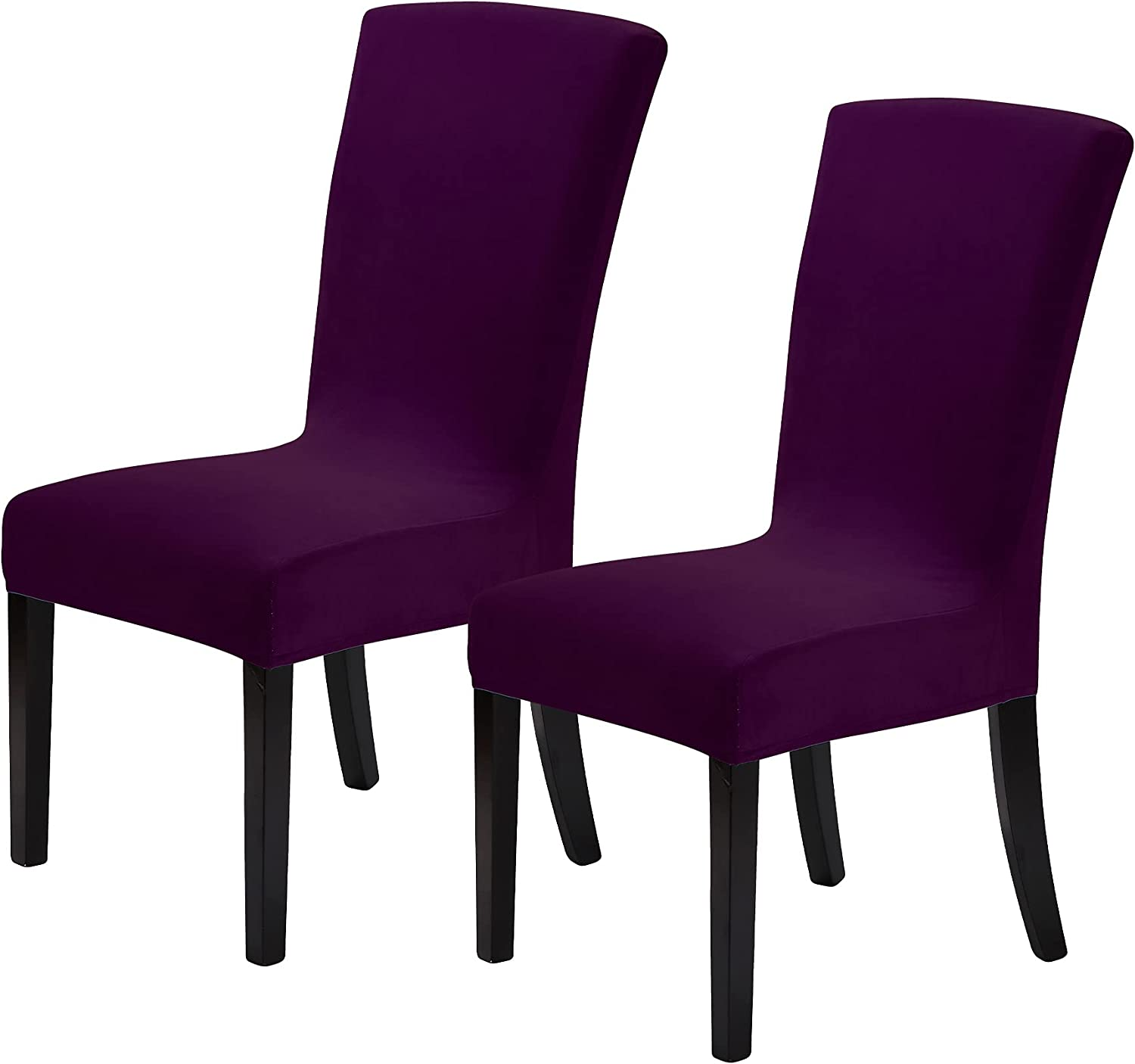 Howhic Velvet Chair Covers for Dining Room Set of 2, Stretchy Dining Chair Covers, Washable Kitchen Chair Slipcovers, Classy Decor for Home and Banquet (Eggplant, 2 Pack)