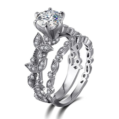 (Hmlai Clearance! Unique Leaf Design For Women Jewelry White Diamond Wedding Engagement Ring Set Jewelry Gift (6))
