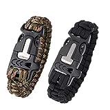 SIUONI 2Pcs Paracord Survival Bracelet Hiking Gear Camping Gear Outdoor Emergency Gear 5