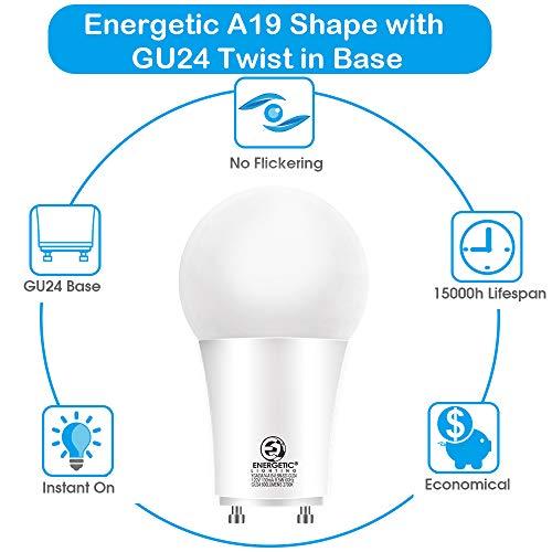 GU24 LED Light Bulb, 60 Watt Equivalent (8.5W), 3000K Warm White, 800 Lumens, Non-Dimmable, 2 Prong Light Bulb, UL Listed, 4 Pack
