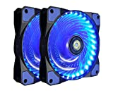 120mm PC Case Cooling Fan,CONISY Gaming 120 mm Super Silent Computer LED Cooler High Airflow Fans for Desktops - Blue (2 Pack)