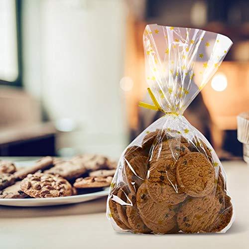 HAKACC Bodenbeutel Sterne, 100 Stück Gold OPP Beutel Weihnachten Kekstüten Keksbeutel Gebäcktüten Gebäckbeutel mit Gold Band und Schnur