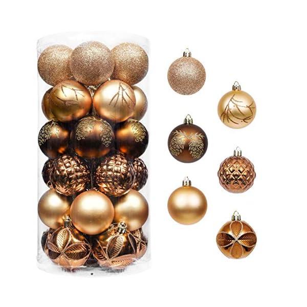Valery Madelyn Palle di Natale 30 Pezzi 6cm Palline di Natale, Rame da Bosco e Oro Infrangibile Ornamenti Palla di Natale Decorazione per Albero di Natale Decor 1 spesavip