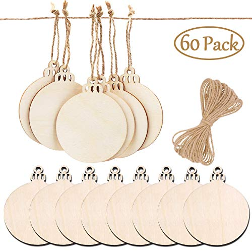 PartyYeah 60Pcs 2018 Christmas Round Wood Slices with Twines, 3.15inch Xmas Halloween Valentine Ornaments Ball Wooden Round Baubles, Ideal for Christmas Tree Hanging Decor& Art Crafts DIY ()