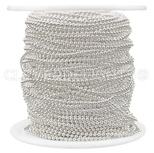 Tiny Ball Chain - CleverDelights Ball Chain Spool - 30 Feet - 1.5mm Ball (Small) - Shiny Silver Color - 10 Yards