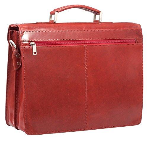 HIDEONLINE Veg maletín para portátiles de cuero italiano de curtido Red