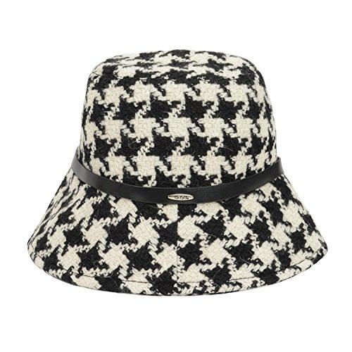 UASU Ladies Winter Check Houndstooth Tweed Bucket Hat with Belt Medium Black White (Check Houndstooth White)