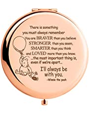 WIEZO-USA Winnie The Pooh Quote Rose Gold Mirror Gift,Braver Than You Believe, Inspirational Gift for Women Girls Daughter Best Friends, Birthday Christmas Thanksgiving Graduation