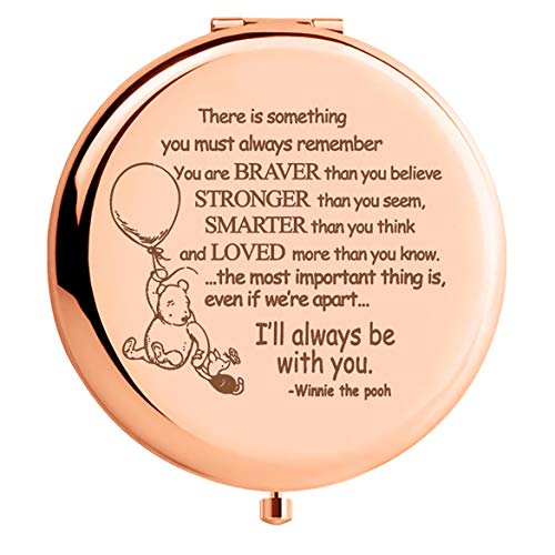 WIEZO-USA Winnie The Pooh Quote Rose Gold Mirror Gift,Braver Than You Believe, Inspirational Gift for Women Girls Daughter Best Friends, Birthday Christmas Thanksgiving Graduation (Best Friends Winnie The Pooh)