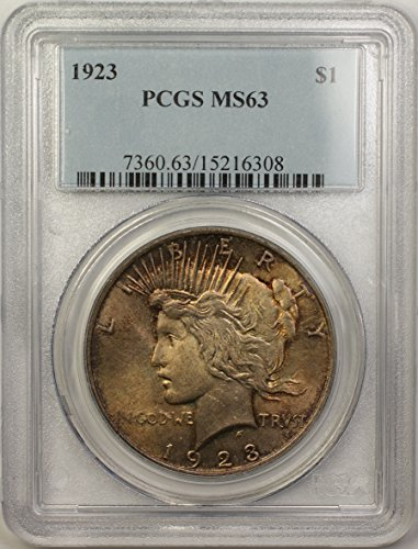 1923 Peace Silver Dollar Coin (ABR13-A) Toned $1 MS-63 PCGS