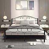 Giantex Metal Bed Frame Platform Mattress Foundation with Wood Slats Support Headboard Footboard Bedroom Furniture Queen Size(Black)