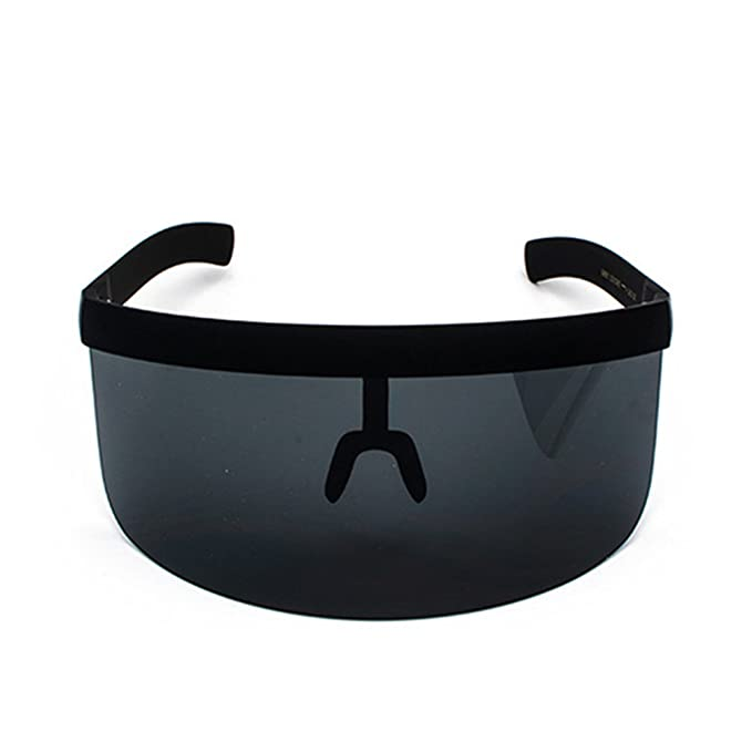 70776ff3e3 Men Women Oversize Shield Visor Sunglasses Flat Top Mirrored Mono Lens ( Black)