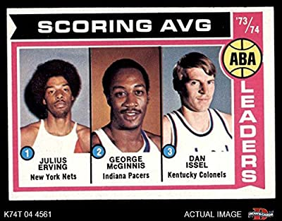 1974 Topps # 207 ABA Scoring Average Leaders Julius Erving/Dan Issel/George McGinnis New York/Indiana/Kentucky Nets/Pacers/Colonels (Basketball Card) Dean's Cards 6 - EX/MT Nets/Pacers/Colonels