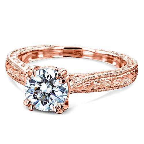 Kobelli Antique Style Moissanite Engagement Ring 1 CTW in 14k Rose Gold, Size 5.5, Rose Gold