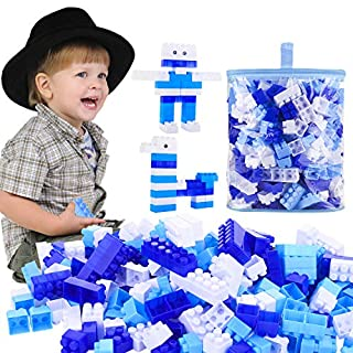 AlexBasic 400PCS Building Blocks for Toddlers Preschool Educational Toy Building Bricks(Ice Blue)