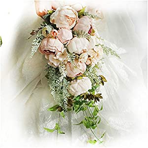 Luvier Rustic Blush Peony Plants Teardrop Cascading Wedding Bouquets Artificial Fake Flowers lace Waterfall Shape toss Bridal Bouquet 11