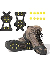 Ice & Snow Grips Over Shoe/Boot Traction Cleat Rubber Spikes Anti Slip 10-Stud Crampons Slip-on Stretch Footwear