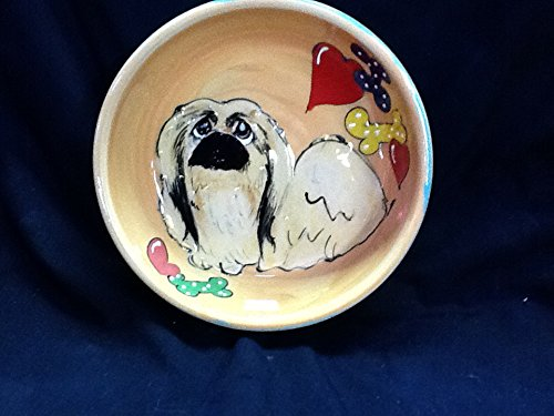 Pekingese 6″ Ceramic Dog Bowl for Food or Water. Personalized at no Charge. Signed by Artist, Debby Carman. Review