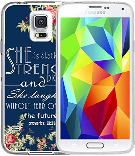 S5 Case Christian Quotes,Hungo TPU Rubber Cover For Samsung Galaxy S5 Cover Soft Tpu Silicone Protective Bible Verses Theme