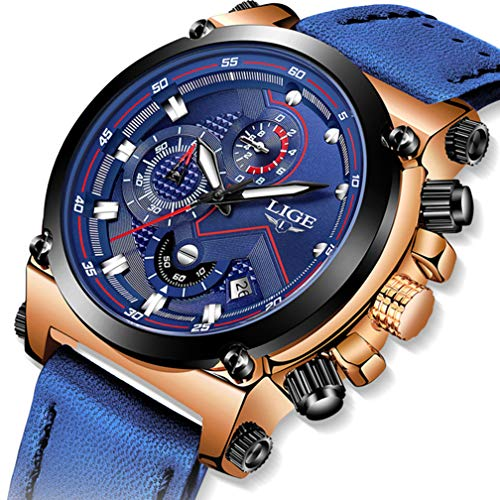 (Mens Watches Waterproof Fashion Analog Quartz Watches Business Casual Chronograph Luxury Brand LIGE Blue Leather Sports Watch)