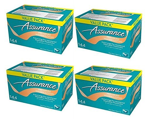 Assurance Premium Washcloths Value Pack 144 Count Carton (4-Carton Multipack 576 Washcloths Total) by Assurance