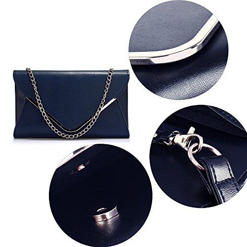 Size Handbag Chain 1 Leather Navy Designer Purse Large With Envelope Ladies Womens Look Design Clutch Faux Swqfxzq75