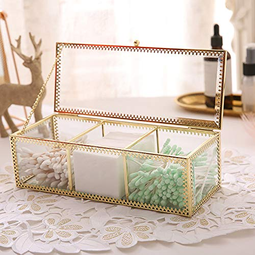 PUDDING CABIN Cotton Pad Swab Holder Makeup Organizer 3 Sections Lipstick Beauty Blender Holder Jewelry Box Countertop Storage