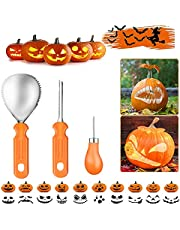 KiScooter Halloween Pumpkin Carving Kit, 3 Piece Duty Stainless Steel Carving Tools Set for Halloween Decoration, Sturdy Sculpting Jack-O-Lanter Knife Set(Orange)
