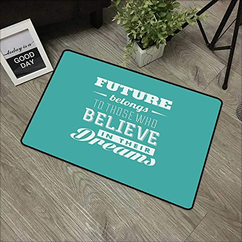 (Children's mat W16 x L24 INCH Motivational,Hipster Letters Saying Advice Believe in Your Dreams Have Faith in Yourself,Teal White Easy to Clean, Easy to fold,Non-Slip Door Mat Carpet)