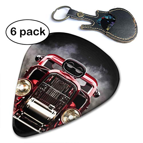 RolandraceHot Rod with Smoke Background On Black Car Guitar Picks (6-Pack) for Acoustic Electric and Bass - Bass Guitars Indiana