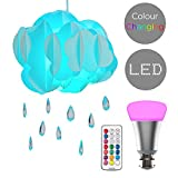 White Layered Rain Cloud & Acrylic Jewel Raindrops Ceiling Pendant Light Shade - Complete with a 10w LED Colour Changing RGB Light Bulb with Remote Control