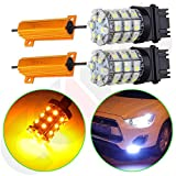 4x4 module for 2002 ford explorer - cciyu 3157 60SMD White/Amber Dual Color Switchback LED Bulbs+ 2 x 50W 6Ohm LED Load Resistors Replacement fit for LED Turn Signal Lights or LED License Plate Lights or DRL with 4pcs Quick wire Clip
