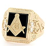 Jewelry Liquidation 10k Solid Yellow Gold 10x12mm Onyx Masonic CZ Mens Ring