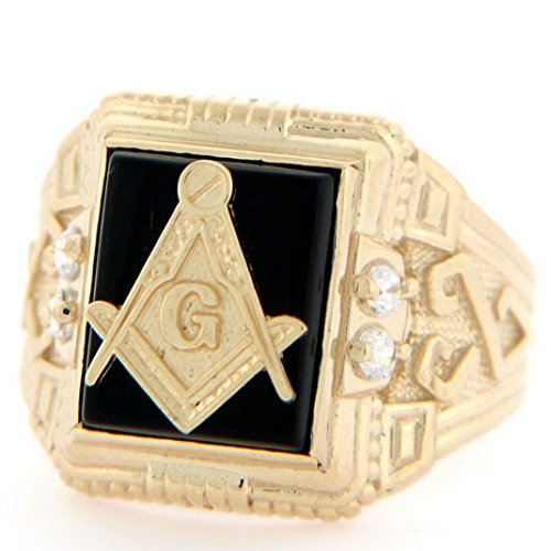Jewelry Liquidation 10k Solid Yellow Gold 10x12mm Onyx Masonic CZ Mens Ring 10k Yellow Gold Masonic Ring