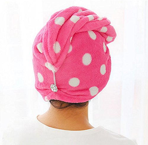 Higere Dot Printed Microfibre Dry Towel Hair Wrap Cap Towel Cap(Rose Red)