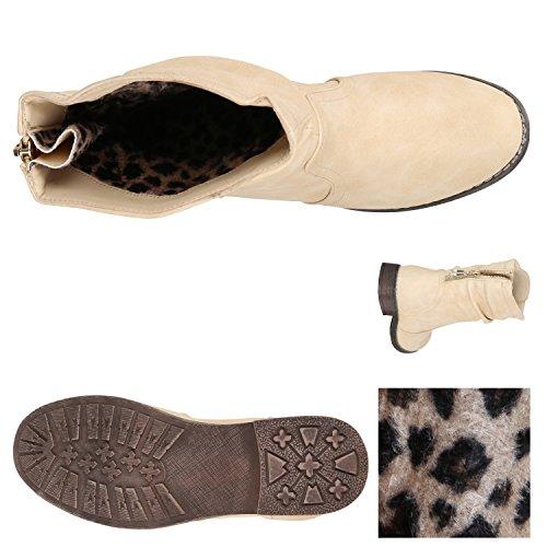 Stiefelparadies Damen Stiefeletten Schlupfstiefel Zipper Schuhe Leicht Gefütterte Stiefel Flandell Creme Berkley