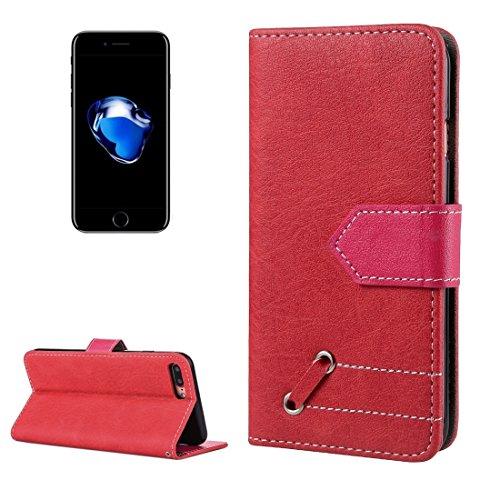 MXNET Iphone 7 Plus Fall, Retro verrückte Pferd Textur Kontrast Farbe Horizontale Flip Leder Tasche mit Halter & Card Slots & Wallet & Foto Frame & Lanyard CASE FÜR IPHONE 7 PLUS ( Color : Red )