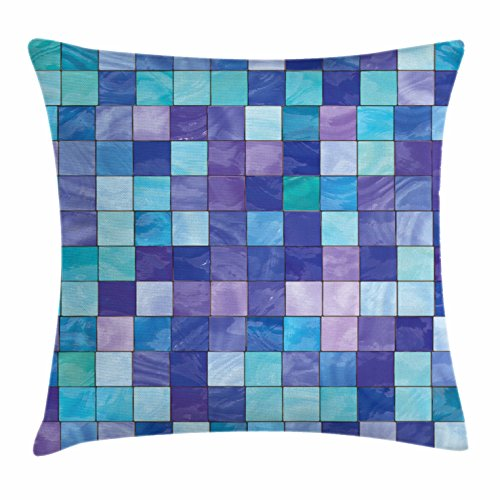 40 Inch Stained Glass Shade - Ambesonne Navy and Teal Throw Pillow Cushion Cover, Stained Glass Inspired Design Checkered Pattern Dreamy Fantasy Colors Shades, Decorative Square Accent Pillow Case, 40 X 40 Inches, Multicolor