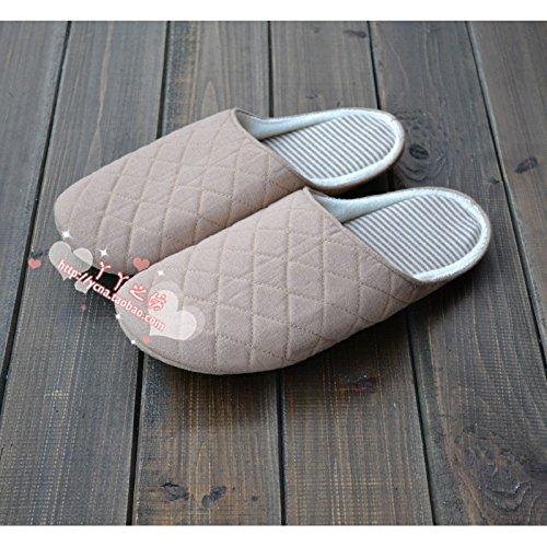 Fankou durante la primavera e in autunno di diamante coppie formato home pantofole uomini e donne pavimento in legno silenzioso fondo morbido cotone pantofole, 39-42,: Bianco