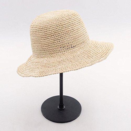 ALWLj Bucket Hat Summer Straw Hats Beach Sun Hat For Women Raffia Crochet Packable Hat,Natural (Raffia Crochet Hat)